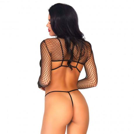 Leg Avenue Net Top, Thong And Bra UK 8 to 14